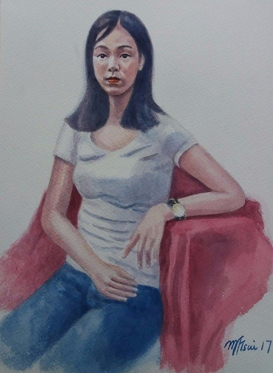 紅色襯布的少女 41x31cm   water color B.jpg