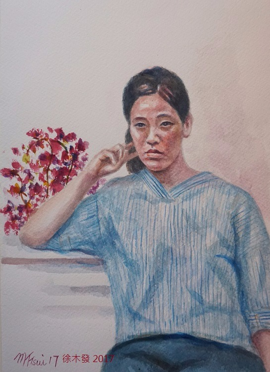 凝思   41x31cm   water color A.jpg