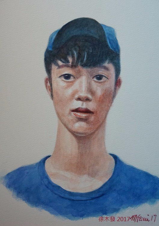 戴鴨舌帽的少年   35.5x23.5cm   water color B.jpg
