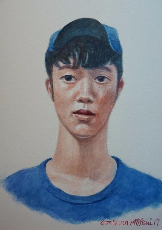 戴鴨舌帽的少年   35.5x23.5cm   water color B.jpg