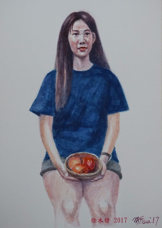 果藍與少女   35.5x23.5cm   water color.jpg