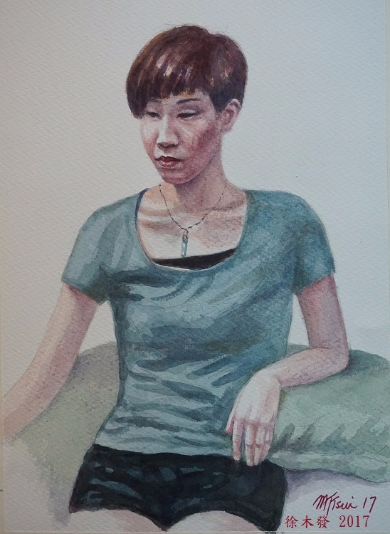 社工女學生   41x31cm   water color.jpg
